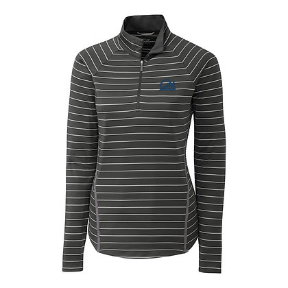 Cutter & Buck Womens Gray Evie Stripe Half Zip