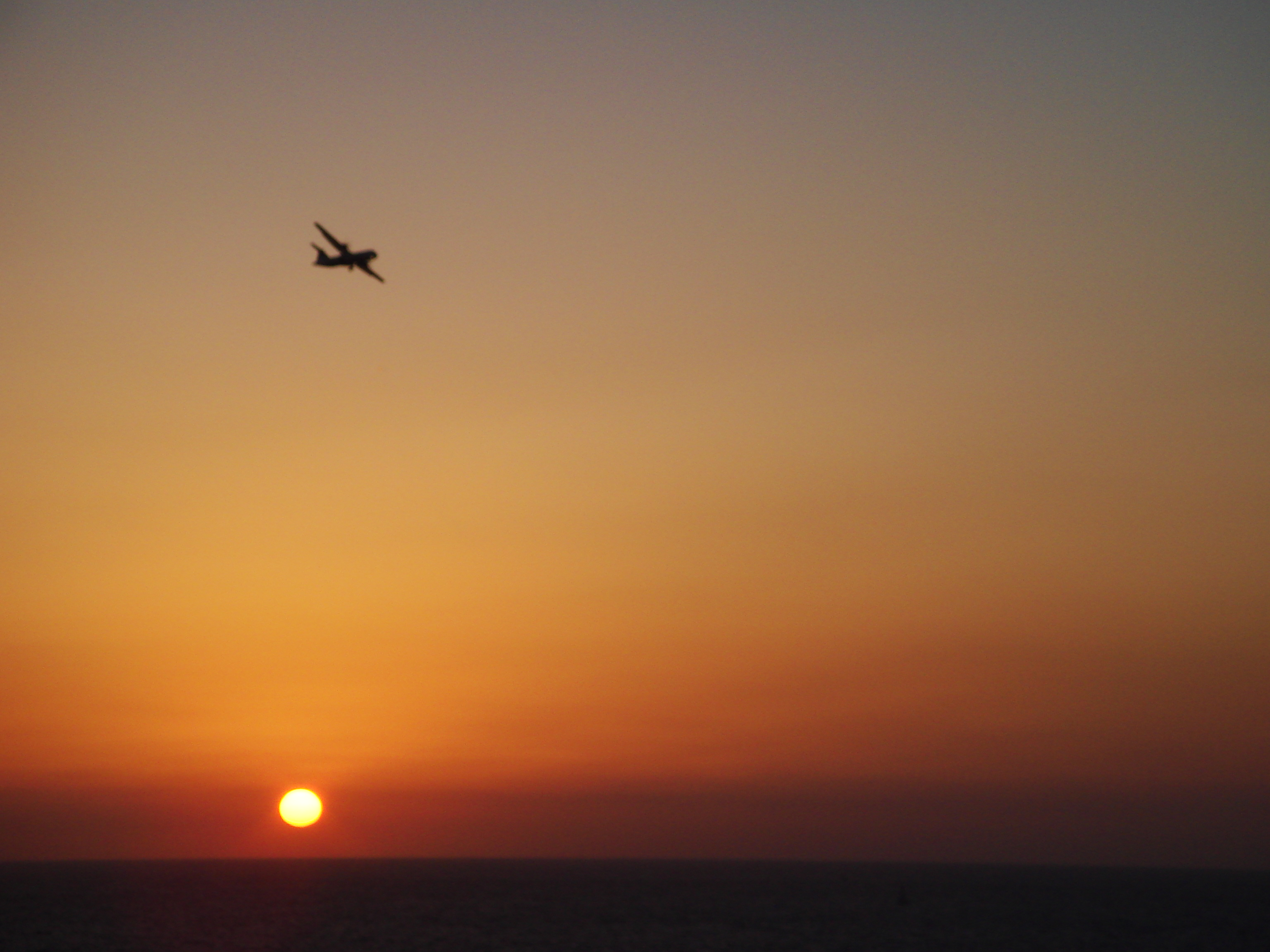 Arkia landing in sunset Tel Aviv