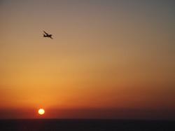 Arkia landing in sunset Tel Aviv