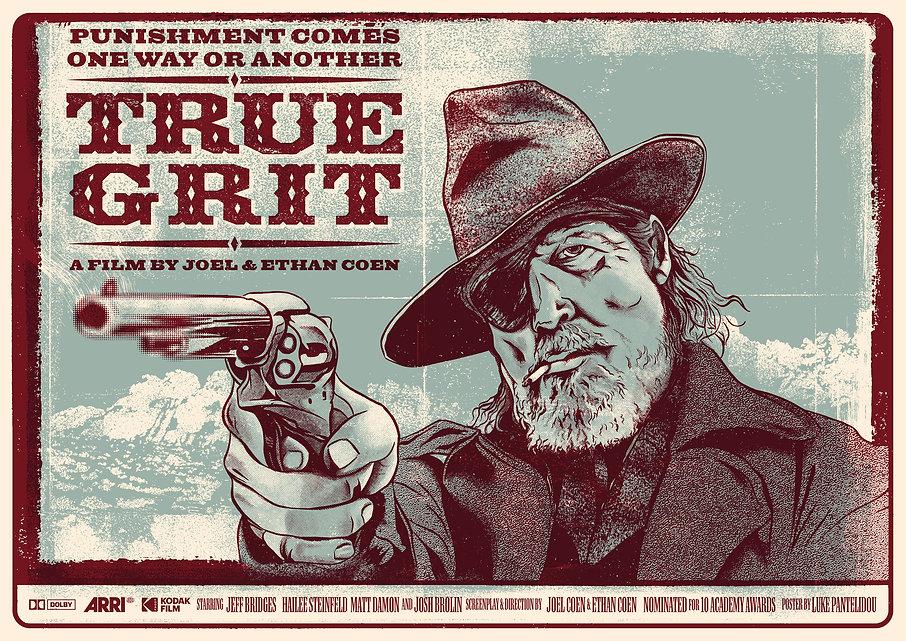 True Grit alternative movie poster, Jeff Bridges, Coen Brothers, screen printed poster