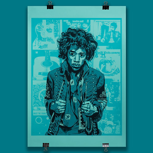 Hendrix (Turquoise) ltd edition screen print