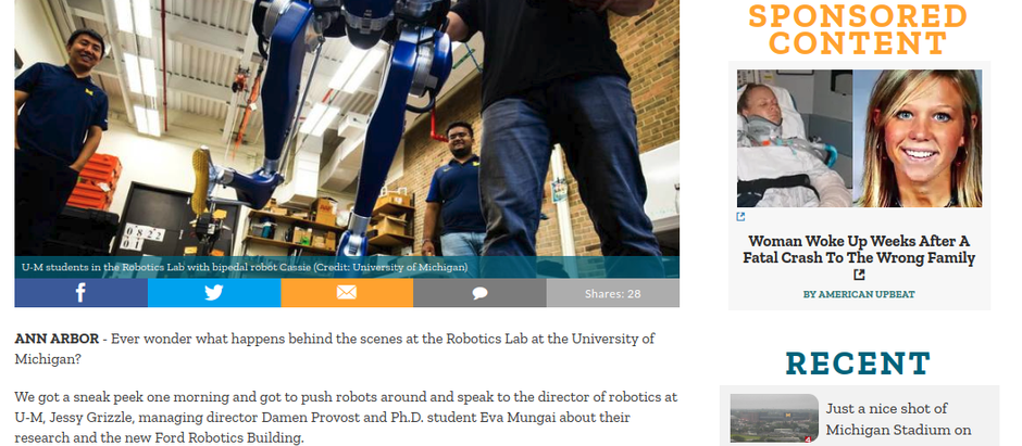 Inside the University of Michigan's Robotics Lab in Ann Arbor
