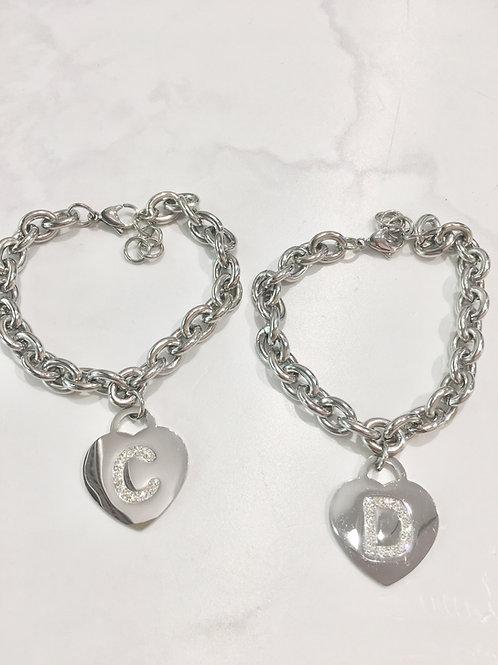 Bracciale acciaio catena con iniziale cuore