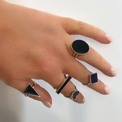 Orecchini e anelli ottone geometrici