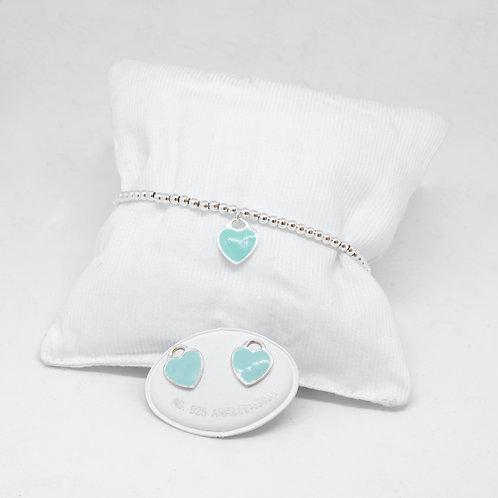 Bracciale cuore pendente verde tiffany