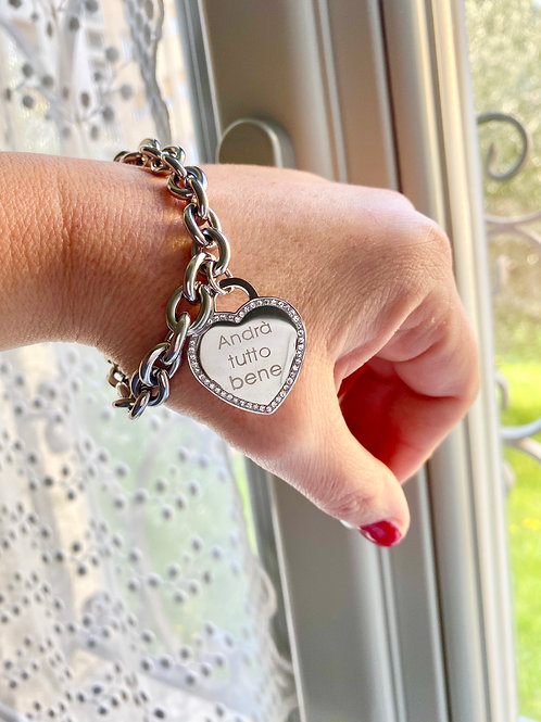 Bracciale acciaio catena con dedica cuore