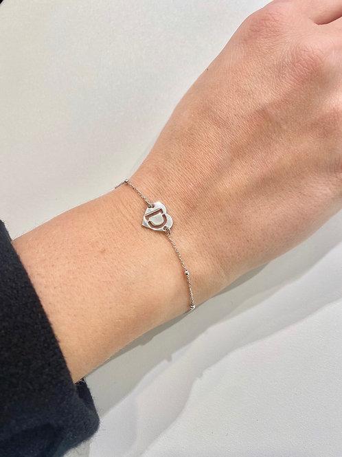 Bracciale iniziale cuore catena micro rosario
