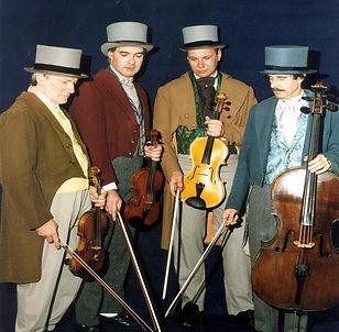 Phoenix String Quartet performing in Victorian costumes