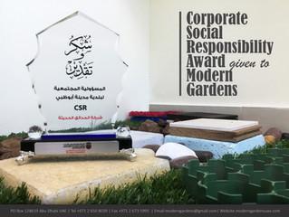 Corporate Social Responsibility Award given to Modern Gardens