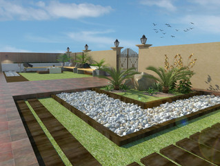 Three-part Garden Adorned with Pebbles