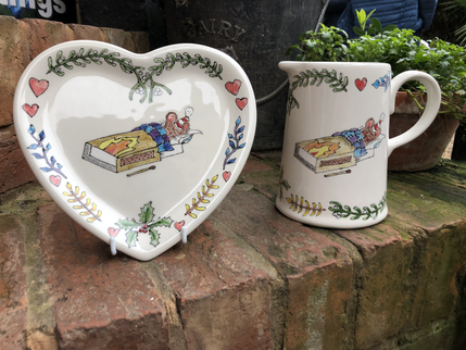 paint your own pottery heart plate and jug with match box mouse