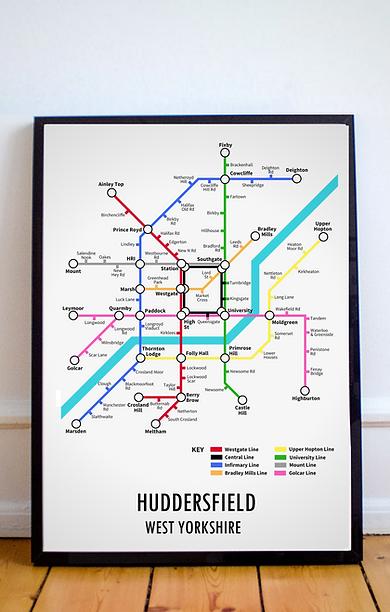 Huddersfield, West Yorkshire | Underground Style Map