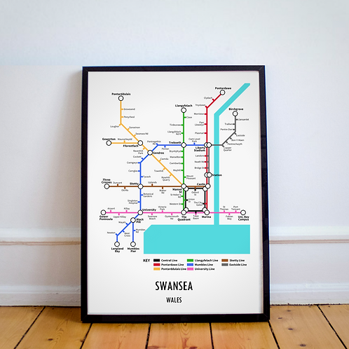 Swansea, Wales | Underground Style Map
