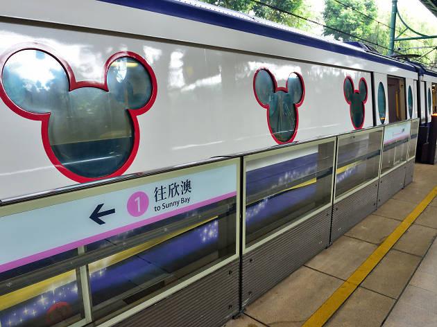 Hong Kong disneyland MTR Train windows mickey mouse