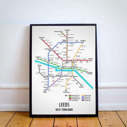Leeds, West Yorkshire | Underground Style Map