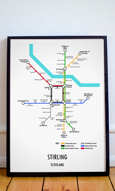 Stirling, Scotland   Underground Style Map