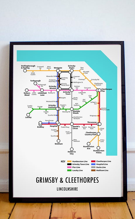 Grimsby & Cleethorpes, Lincolnshire | Underground Style Map