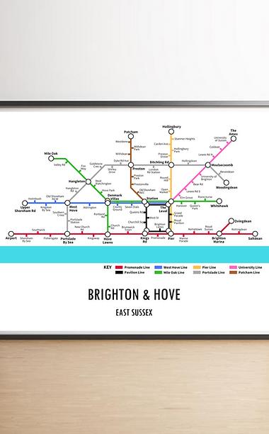 Brighton & Hove, East Sussex   Underground Style Map