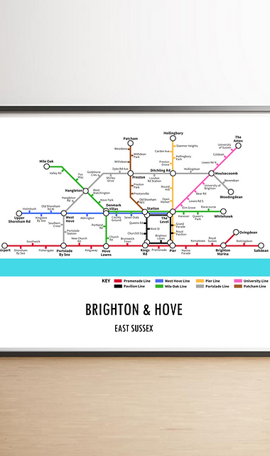 Brighton & Hove, East Sussex | Underground Style Map
