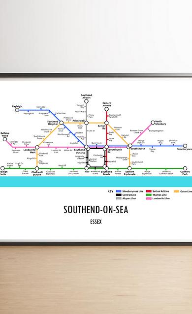 Southend On Sea, Essex   Underground Style Map