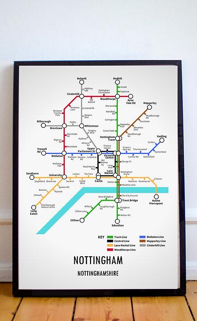 Nottingham, Nottinghamshire   Underground Style Map