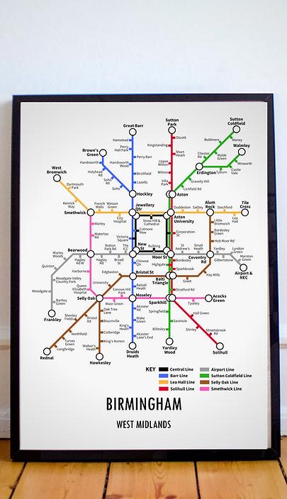 Birmingham, West Midlands | Underground Style Map