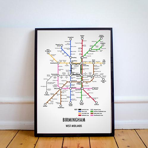 Birmingham, West Midlands   Underground Style Map
