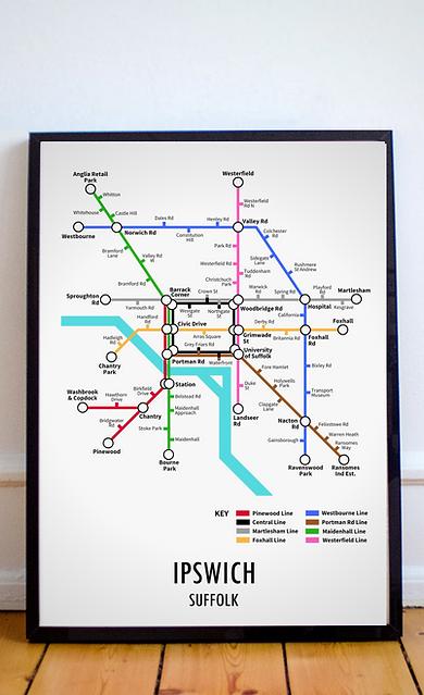 Ipswich, Suffolk | Underground Style Map