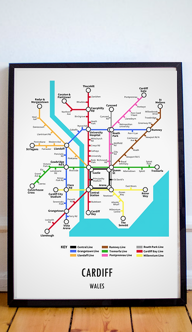 Cardiff, Wales | Underground Style Map