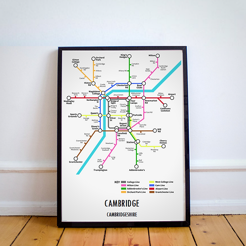 Cambridge, Cambridgeshire | Underground Style Map