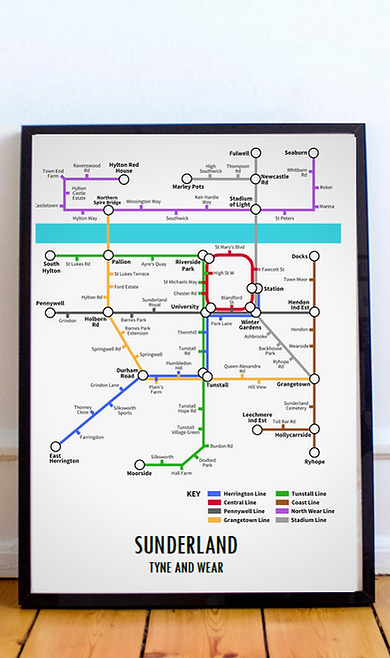 Sunderland, Tyne and Wear | Underground Style Map