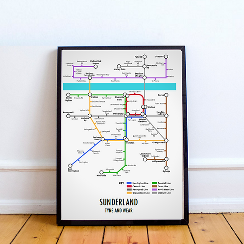 Sunderland, Tyne and Wear | Underground Style Map