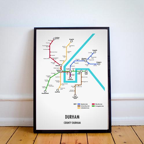 Durham, County Durham | Underground Style Map