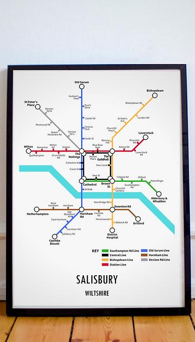 Salisbury, Wiltshire   Underground Style Map