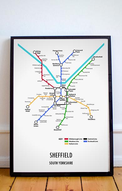 Sheffield, South Yorkshire | Underground Style Map