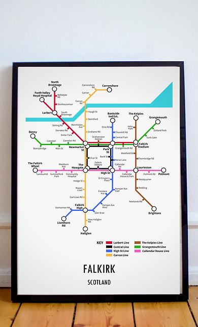 Falkirk, Scotland   Underground Style Map