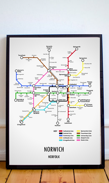 Norwich, Norfolk | Underground Style Map