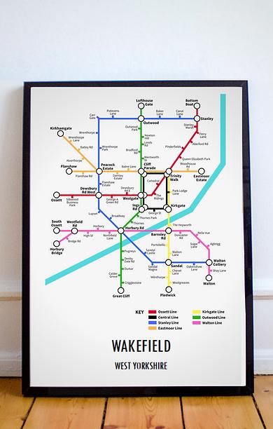 Wakefield, West Yorkshire | Underground Style Map