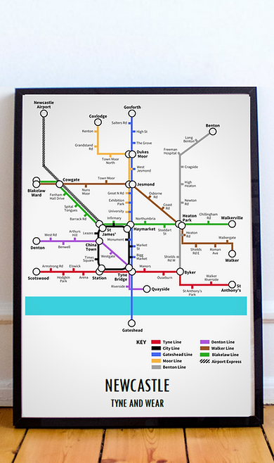 Newcastle, Tyne and Wear | Underground Style Map