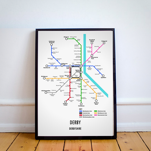 Derby, Derbyshire | Underground Style Map
