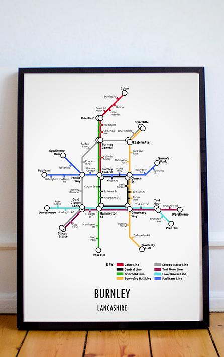 Burnley, Lancashire | Underground Style Map