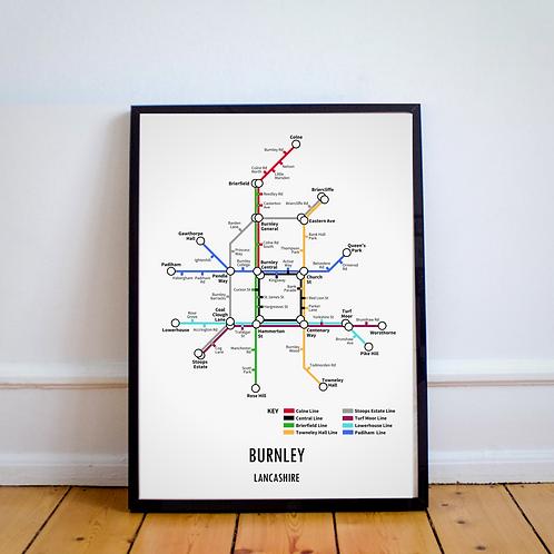 Burnley, Lancashire   Underground Style Map