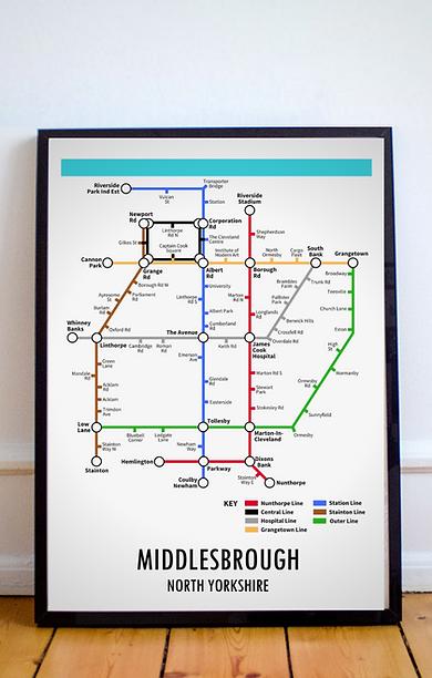 Middlesbrough, North Yorkshire | Underground Style Map