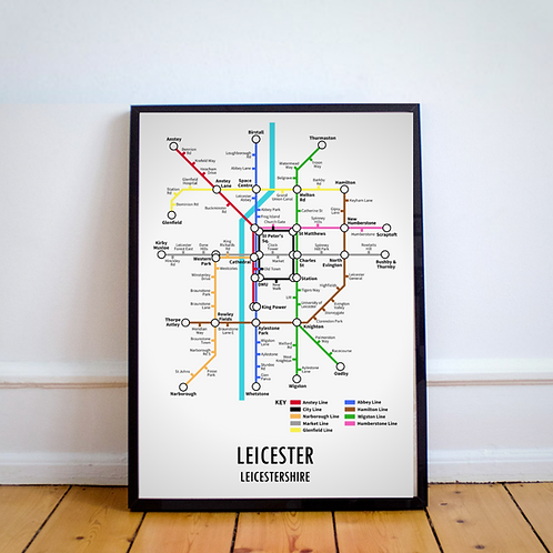 Leicester, Leicestershire | Underground Style Map