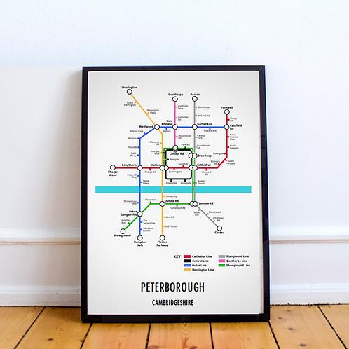 Peterborough, Cambridgeshire | Underground Style Map