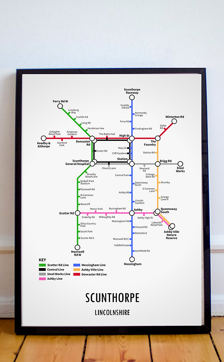 Scunthorpe, Lincolnshire | Underground Style Map