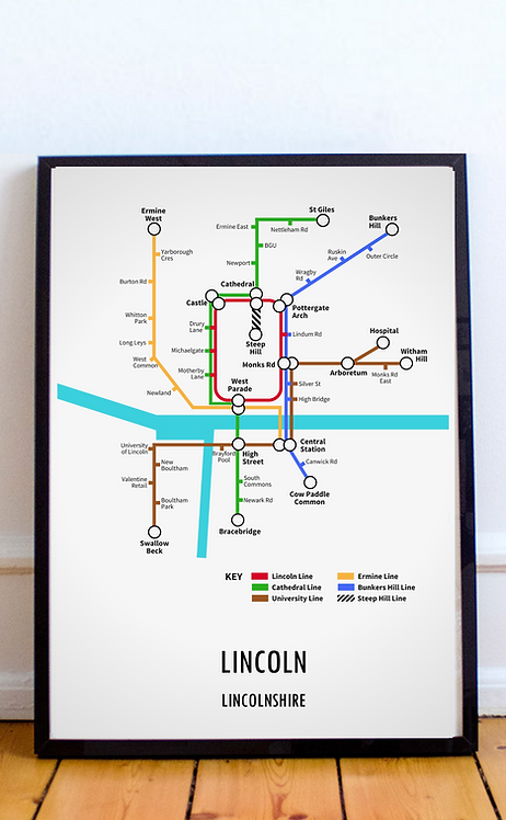 Lincoln, Lincolnshire | Underground Style Map