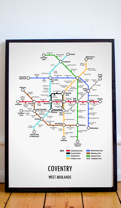 Coventry, West Midlands | Underground Style Map