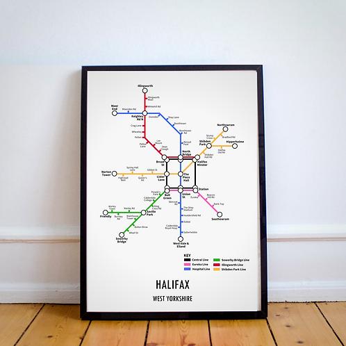 Halifax, West Yorkshire | Underground Style Map