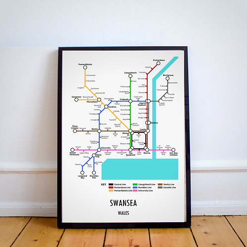 Swansea, Wales | Underground Style Map
